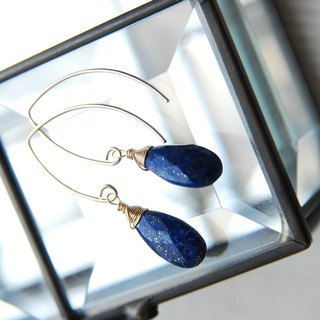 Lapis lazuli drop slightly longer Marquis hook earrings 14 kgf