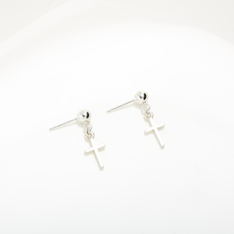 Cross mini s925 sterling silver earrings (changeable ear clips) Valentine's Day