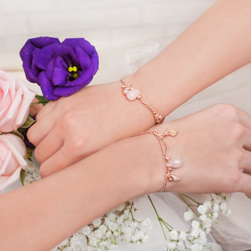 2 into the group _ bridesmaid gift rose drop powder crystal sweet drop slip buckle bracelet