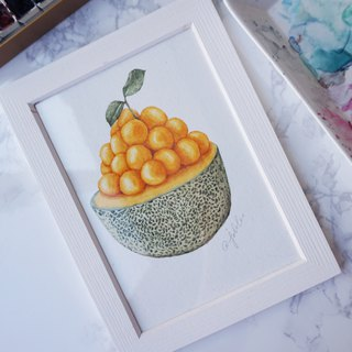 Original Watercolor Painting: Melon Kakigōri. one piece only