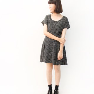 Retro simple round neck black dot point lap short sleeve vintage dress Vintage Dress
