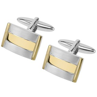 Gold and Brushed Silver Metal Cufflinks