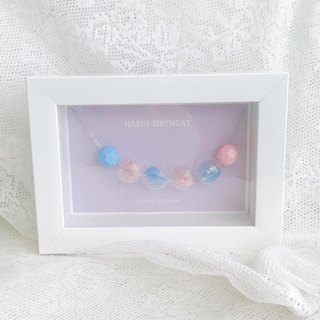 Frame Box Set Preserved Flower Glass Ball Necklace Pink/blue Bridesmaid Gift Wedding Birthday Christmas