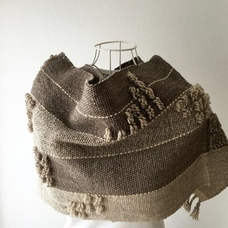 "[Wool: Fall-Winter] unisex: hand-woven scarf ""Brown Moco Moco Mix"""