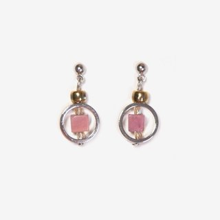Contrast Color Natural Stone Earrings - Rhodonite, Post Earrings, Clip On Earrings