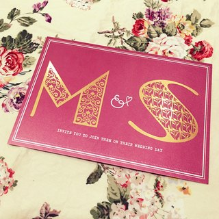 Customized gilt letters wedding card * 100 * postcard set