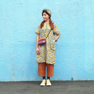 Maverick Village cotton and linen comfortable loose dress long coat [mysterious engraving] mustard J-44 limited edition