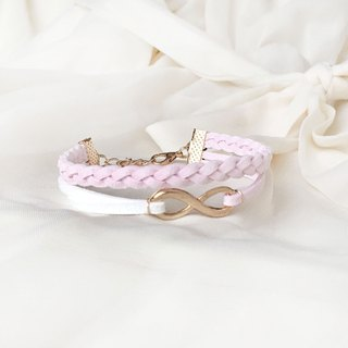 Handmade Double Braided Infinity Bracelets Rose Gold Series–sakura pink limited