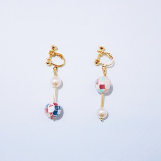 Ice - Berry Pink Spherical Mosaic Beacon Pearl Pearl Earrings