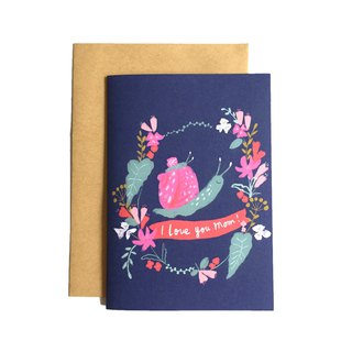 Mother's Day Card Small Snail And Mom Dark Blue Attach Kraft Envelope