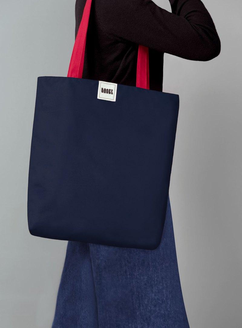 經典英倫拼色肩背帆布袋 (大) / 藏藍+紅