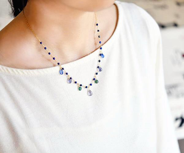 Good luck Success luck UP 4 kinds Blue Stone Large Set Necklace December Birthstone Lapis Lazuli Kyanite Iolite Green Apa