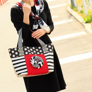 tote bag Location Hunting L Red Black Corsage dots borders stripes