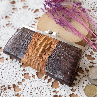 Vintage crocodile leather wallet gold wallet. Bananacats