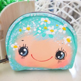 Pure hand-painted semicircle purse