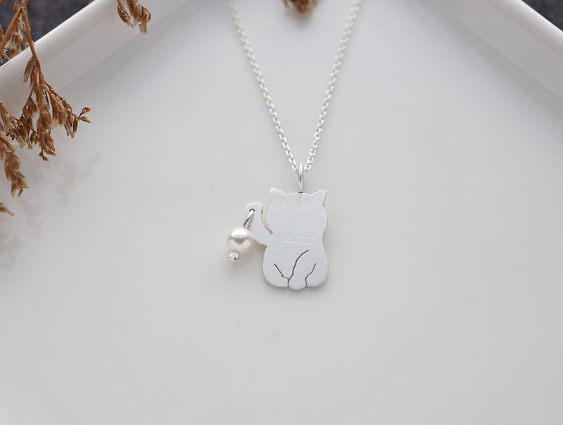 ni.kou sterling silver lucky animal series necklace-lucky cat