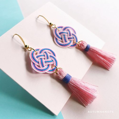 Handmade Handmade Pink Purple Tassel Tee Knot Knit Chinese Style Earrings Knotsearrings Cute Kawaii
