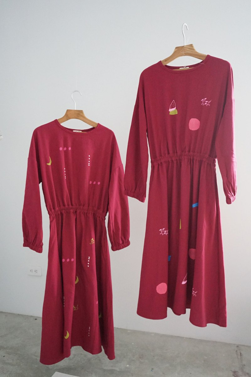 Puppies, rocks, stars beautiful wine red long sleeve elastic waist dress