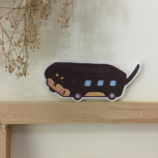"Art of fish ""dachshund bus medium-sized waterproof stickers -SM0076"