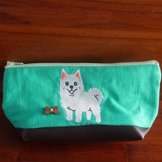 White fox custom embroidery pencil bag bag 10 color (free embroidered English name please note)