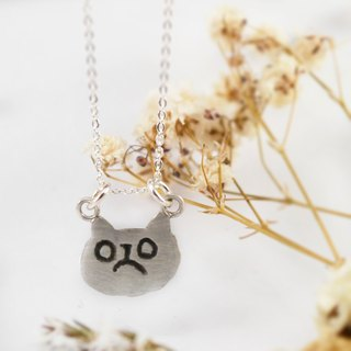 PET// Unhappy Cat Necklace / kitty/ cat face/ Animal