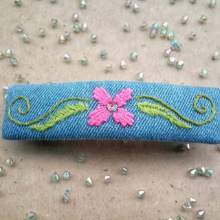R ee denim embroidery hair clip HA006