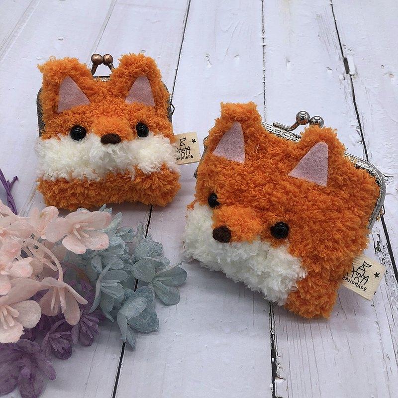 狐狸-毛線編織方塊口金包  零錢包 錢包