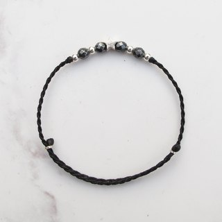 Big staff Taipa [manual silver] black gallstone × stars natural paraffin rope bracelet handmade sterling silver