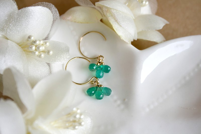 Little lucky green agate earrings light jewelry can be changed to clip style