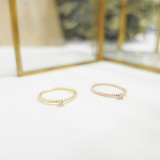 Twist small diamond ring / tail ring - gold / rose gold