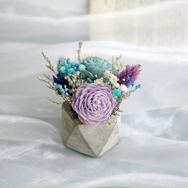 聖誕禮讚-藍紫太陽玫瑰 乾燥水泥桌花