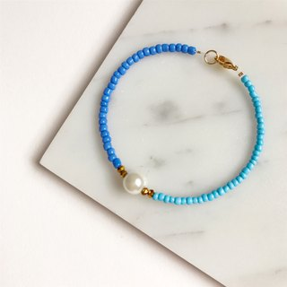 [Clearing] Spot retro temperament pearl blue color • • • imitation pearl bracelet bracelet • gift