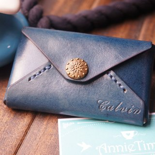 AT - handmade  -  Blue Leather card holder