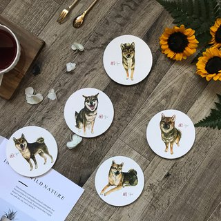 Burnt Shiba Ceramic coasters set
