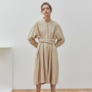 Returning | Rice Apricot French Abbey Buckle Ribbon Dress with Belt and Plain Loose Profile