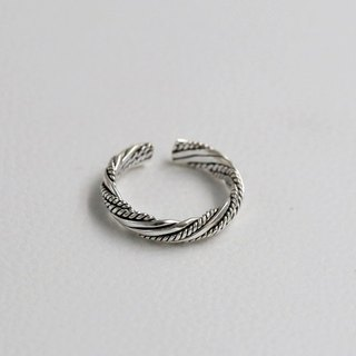[SILVER] 925 sterling silver ring opening retro twist knit / tail ring