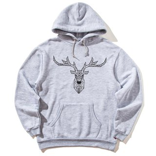 Deer Geometric front figure long-sleeved bristles hooded T neutral version of the gray geometry Deer universe design own brand Milky Way trendy round triangle
