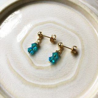 Time Travel【handmade earrings:Blue crystal】