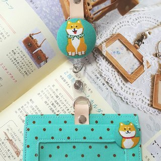 Cute Shiba Inu Japan imported cotton ~ steel wire retractable ring ring card holder / identification card set