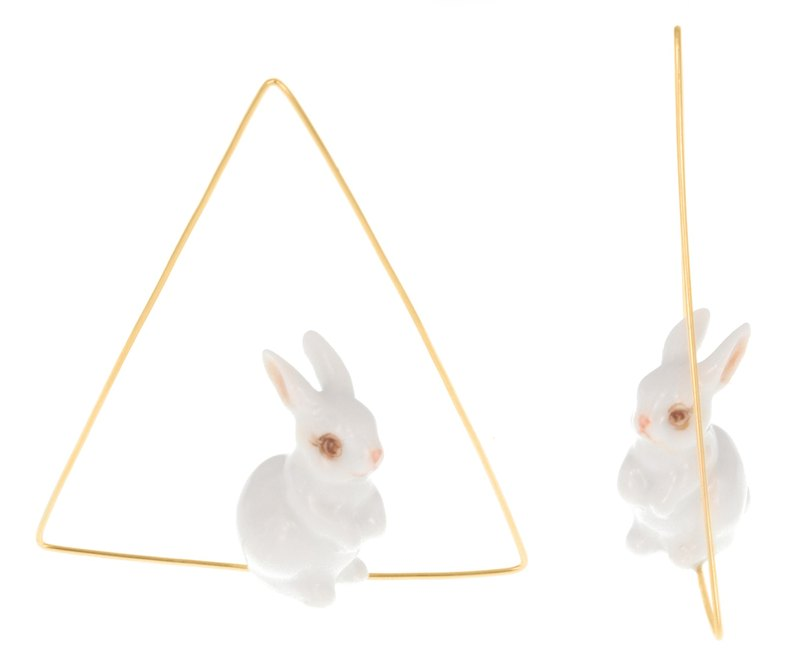 White Rabbit Triangle Creoles Earrings