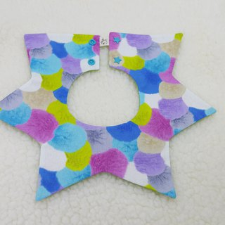 Color printing fur ball / two-color star pocket / baby bib / bibs