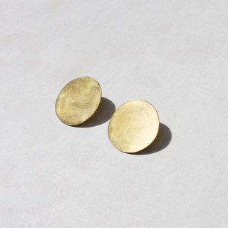 Simple Brass Medium Round Earrings - Sterling Silver Ear Pins