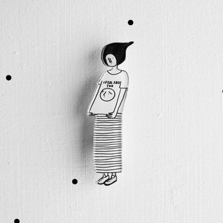 Miss Hairy Collection / Black and White Brooch / 020