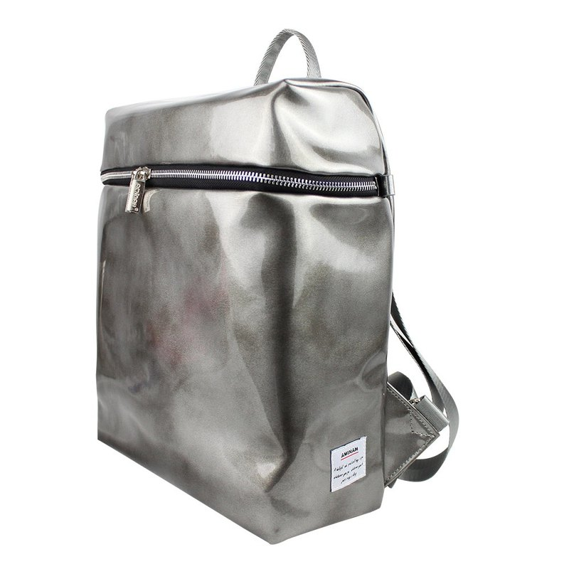 AMINAH-(Thickening Strap) Silver Shiny Mirror Back Backpack [am-0279]