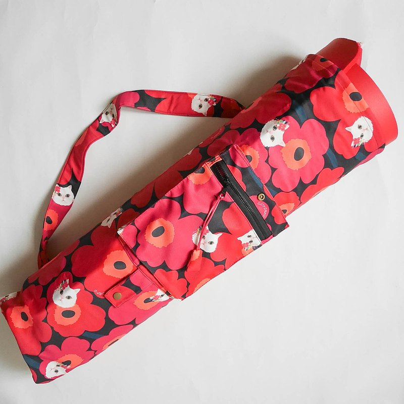 Yoga Bag-Red Flower Cat