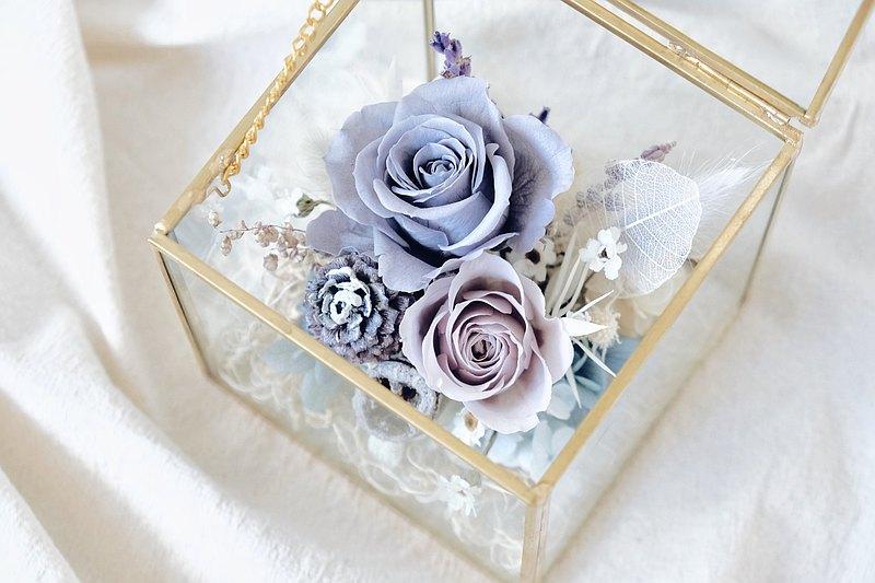 Cloudy 氣質灰永生花玻璃寶盒 浪漫約會之首選 求婚 生日 情人節