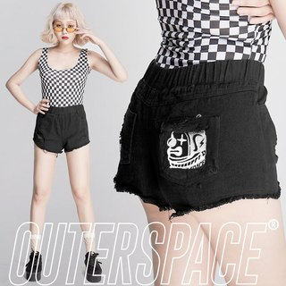 OUTER SPACE Clown head LOGO summer shorts (black)