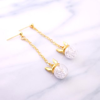 Rabbit Ear Shape with White Crystal Glass Ball Earrings