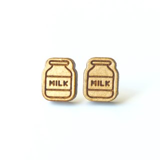 Plain wood earrings-Milk