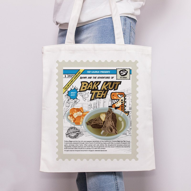 Tee-Saurus快樂手提包 - 新加坡Bak Kut Teh棉花手提包